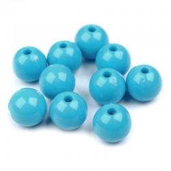 Korálky plastové 10mm 15ks modrá