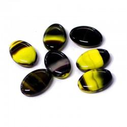 Korálky skleněné 16x11mm 12ks žlutá, tm.hnědá