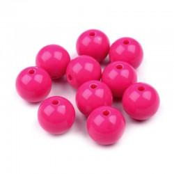 Korálky plastové 10mm 15ks růžová