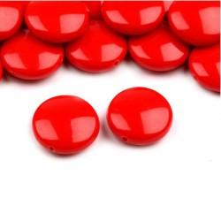 """Korálky plast. """"lentilky"""" 16mm 10ks červená"""
