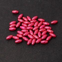 """Korálky """"rýže"""" plast 8x4 mm 80ks červeno-růžová"""