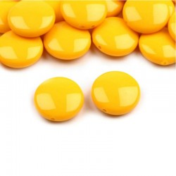 "Korálky plast. ""lentilky"" 16mm 10ks žlutá"