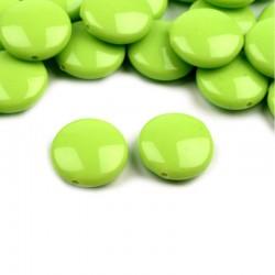 """Korálky plast. """"lentilky"""" 16mm 10ks zelená"""