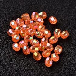 Korálky broušené plast 4mm 100ks oranžová s AB