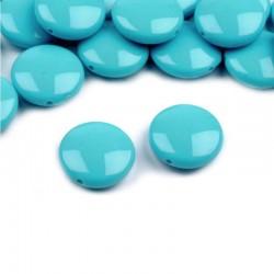 """Korálky plast. """"lentilky"""" 16mm 10ks modrá"""