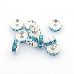 Šatonové rondelky 8x3,5mm 6ks stříbrná, tyrkysově modrá