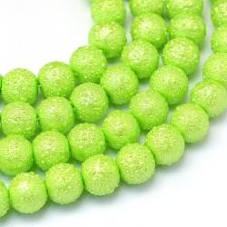Voskované perle vroubkované 8mm 20ks zelená