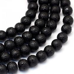 Voskované perle vroubkované 8mm 20ks černá