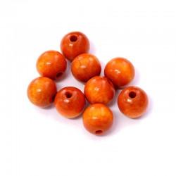 Korálky dřevěné 10mm 15ks mandarinková