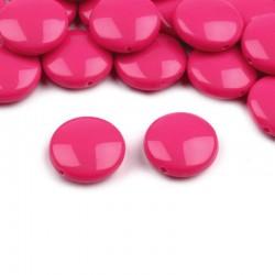 """Korálky plast. """"lentilky"""" 16mm 10ks růžová"""