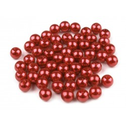 Voskované perličky plast 6mm 50ks bordó