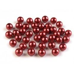 Voskované perličky plast 8mm 20ks bordó