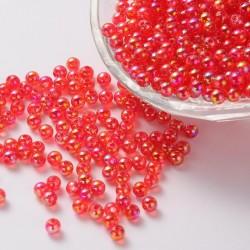 Akrylové korálky 4mm 100ks červená s AB
