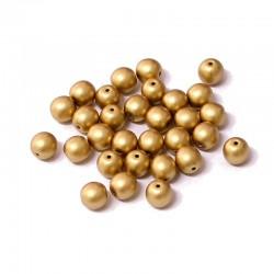 Korálky skleněné 6mm 30ks zlatá matná