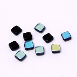 Korálky dvoudírkové 6x6 mm 10ks černá a modrý pokov