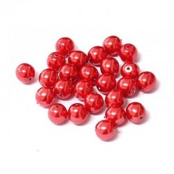 Voskované perle 6mm 25ks červená jahodová