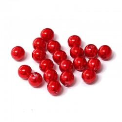 Voskované perle 8mm 20ks červená