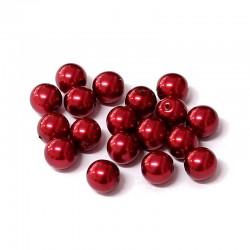 Voskované perle 8mm 18ks vínová