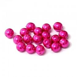 Voskované perle 8mm 18ks fuchsiová