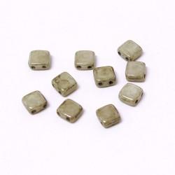 Korálky dvoudírkové 6x6 mm 10ks šedá