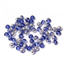 Korálky skleněné 4mm 80ks modrá, stříbrný pokov