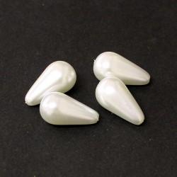 Voskované perle slzy 23x13mm 4ks bílá