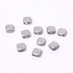 Korálky dvoudírkové 6x6 mm 10ks stříbrná lesklá