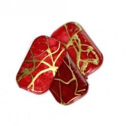 Korálky plastové 18x11mm 10ks červeno-zlatá