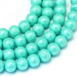 Voskované perle vroubkované 8mm 20ks tyrkysová