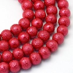 Voskované perle vroubkované 8mm 20ks karmínová