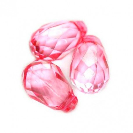 Korálky broušené plast 18mm 8ks růžová