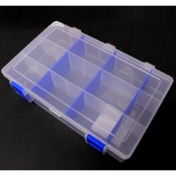 Box na korálky 206x137x45 mm průhledný,modrý