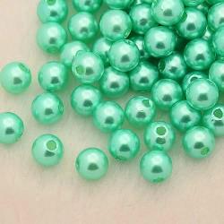 Voskované perličky plast 4mm 100ks tyrkysová