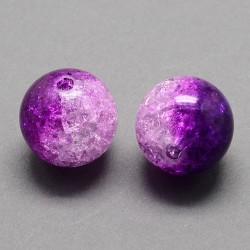 Korálky práskané plast 8mm 18ks fialová, průhledná