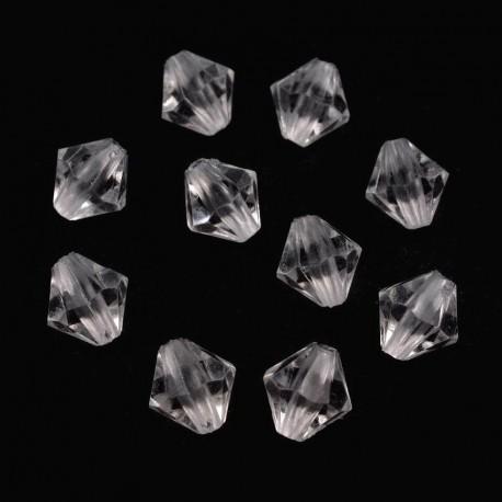 Korálky broušené plast sluníčko 8mm 30ks průhledná