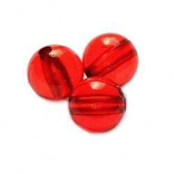 Korálky plastové 6mm 50ks červená průhledná