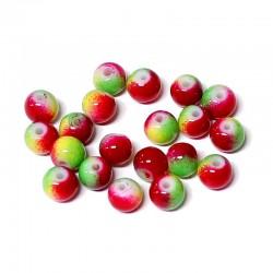 Korálky skleněné 6mm 20ks červeno-zelená