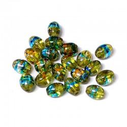 Korálky skleněné Cosmic 6x8mm 20ks zelená