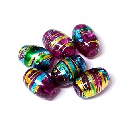 Korálky skleněné Cosmic 10x14mm 8ks fialová