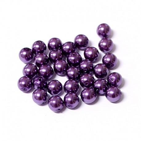 Voskované perle 6mm 30ks švestková
