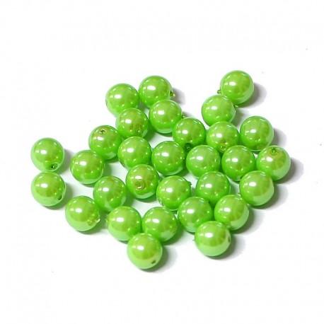 Voskované perle 6mm 30ks zelená světlá