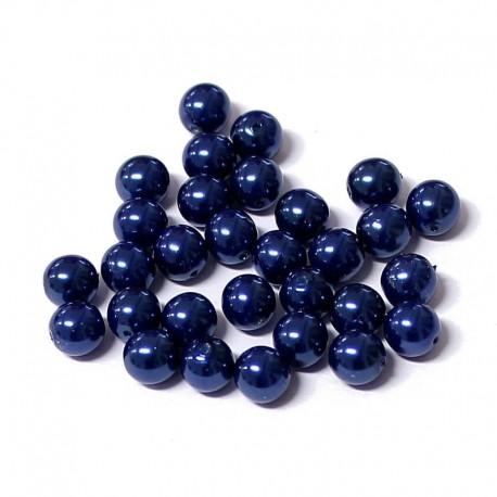 Voskované perle 6mm 30ks modrá tmavá