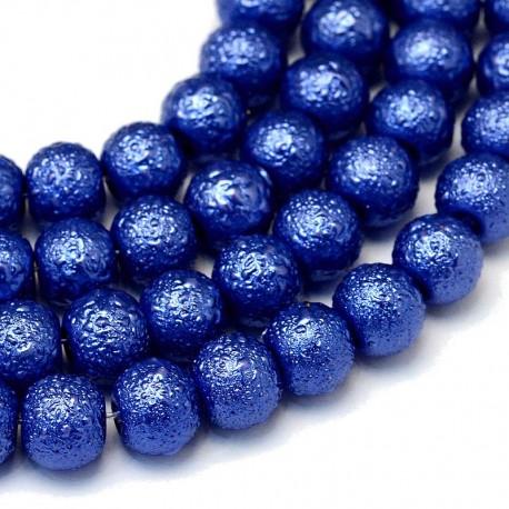 Voskované perle vroubkované 8mm 20ks modrá tmavá
