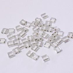 Korálky dvoudírkové 5x5 mm 50ks průhledná,stříbrný průtah