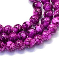 Korálky skleněné mramorované 8mm 20ks fialová
