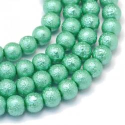 Voskované perle vroubkované 8mm 20ks meruňková světlá