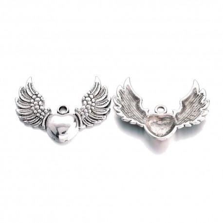 Přívěšek srdce s křídly 28,5x36,5x5mm 1ks starostříbro