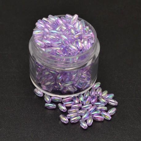"""Korálky """"rýže"""" plast 6x3 mm 100ks fialová světlá s AB"""