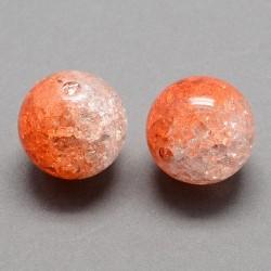 Korálky práskané plast 8mm 18ks oranžová, průhledná