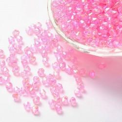 Korálky broušené plast sluníčko 4mm 100ks růžová s AB